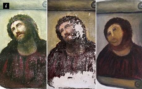 西班牙老婦好心辦壞事,毀耶穌像壁畫