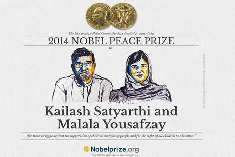 諾貝爾和平獎由印巴兩名致力兒童權益人士獲得