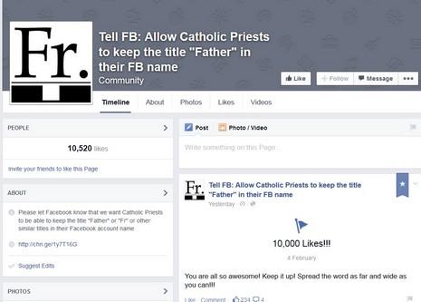 社交網站禁用「神父」稱謂,牧者用戶發起抗議運動