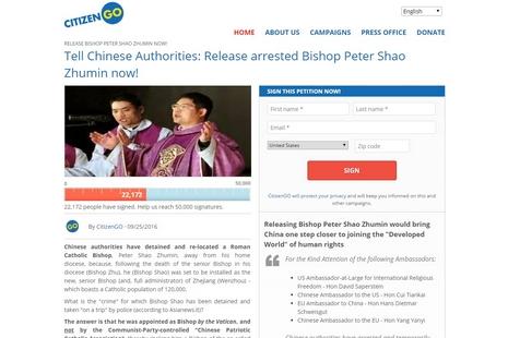 逾二萬人在網上簽名聯署,要求當局釋放邵祝敏主教